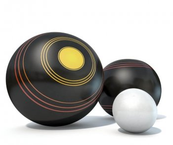three lawn bowling balls on white backgorund